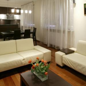 Nowoczesna, w pełni wyposażona kuchnia stylistycznie i kolorystycznie dopełnia dzienną cześć mieszkania. Fot. Monika Filipiuk.