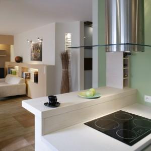 Ściany w kuchni zostały pomalowane na kolor nieco złamanej zieleni i lekko przypudrowanej brzoskwini. Fot. Monika Filipiuk.