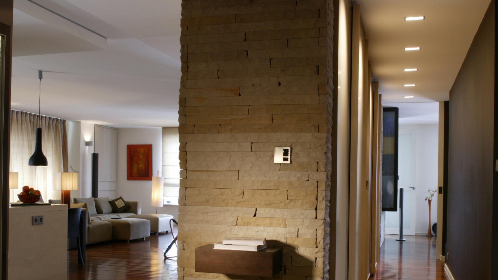 Po lewej stronie widoczny jest salon, po prawej korytarz wiodący do sypialni.  Ściana, oddzielająca obie części, pełni rolę ozdobną i praktyczną jednocześnie. Fot. Tomek Markowski.