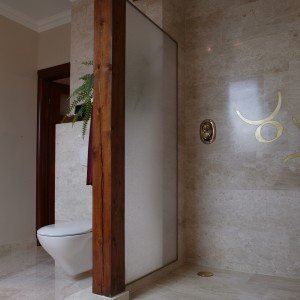 Otwarta na łazienkę kabina prysznicowa jest rozwiązaniem atrakcyjnym wizualnie. Ścianka ze zbrojonego szkła chroni przed zamoczeniem strefę w.c. Fot. Tomasz Markowski.