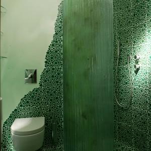 Natrysk osłania wygięta na kształt łuku tafla barwionego na zielono szkła o chropowatej powierzchni, wykonana przez artystę Tomasza Łączyńskiego. Fot. Tomasz Markowski.