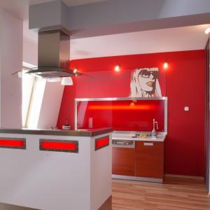 Czerwona okładzina pełni nie tylko rolę dekoracyjną, ma też zadanie praktyczne: chroni ścianę przed zabrudzeniem. Fot. Tomasz Markowski.