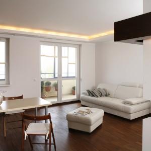 Brązowa ściana ze szklanymi taflami po bokach, oddzielająca a zarazem łącząca salon z sypialnią, to odrębna całość, ważny element w aranżacji całego mieszkania. Fot. Bartosz Jarosz.