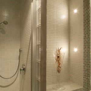 Kabinę prysznicową, utworzoną przez ścianki lekkiej zabudowy, pogłębiają dostawione pustaki szklane. Ich frontową krawędź wykończa pas stali szlachetnej. Fot. Tomek Markowski.