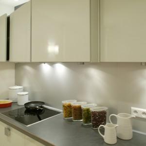 Laminowany blat w stalowym odcieniu i nieco jaśniejszy na ścianie, rozjaśnione lekko popielatym kolorem frontów tworzą kuchnię o jednolitym, wyciszonym klimacie. Fot. Monika Filipiuk.
