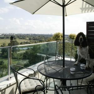 Z salonu można wyjść na taras, by wykorzystać ostatnie ciepłe wieczory i odpocząć od zgiełku. Komfort wypoczywania zapewnia dyskretna sceneria w postaci tarasowej zieleni i kompletu mebli ogrodowych. Fot. Monika Filipiuk.