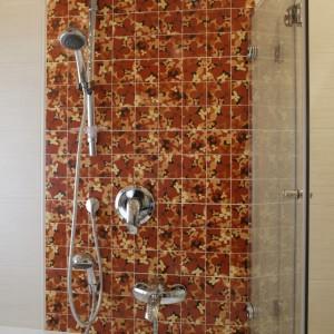 Składany parawan pozwala wziąć wygodnie prysznic w wannie. Komfortu kąpieli podnosi obecność dwóch oddzielnych baterii: wannowej i natryskowej. Fot. Monika Filipiuk.
