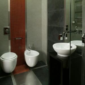 """Owalne kształty ceramiki sanitarnej (marki Ideal Standard) wyróżniają się na tle geometrycznego wzoru okładziny. Bateria bidetowa """"Axor Citterio"""" z oferty firmy Hansgrohe. Fot. Monika Filipiuk."""