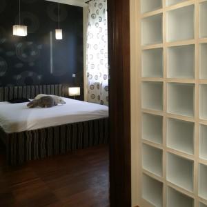 Konstelacje koncentrycznych kół na zasłonie i ścianie sypialni zdają się wprawiać w ruch całe wnętrze. Fot. Monika Filipiuk.
