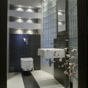 Światło pojawia się w tej łazience w podwójnej postaci – jako punktowe dzięki licznym halogenom i rozproszone za sprawą pustaków szklanych. Fot. Bartosz Jarosz.