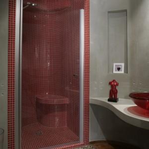 Kabina prysznicowa to jedyne miejsce, w którym pojawiają się płytki ceramiczne. Drobne kostki czerwonej mozaiki pokrywają całe jej wnętrze, pozwoliły też na wymodelowanie wygodnego siedziska.