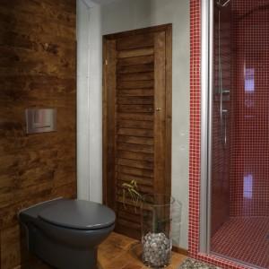 Piękne, a jednocześnie tajemnicze drewniane drzwi zasłaniają pustą przestrzeń pod schodami. Została zaanektowana na przydatny składzik.  W tym fragmencie wnętrza widać przekrój użytych materiałów.