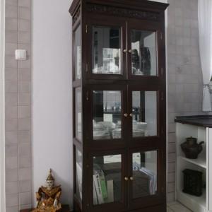 Przeszklona witryna jest tyleż dekoracyjna, co użyteczna. To jeden z kilku w tym mieszkaniu oryginalnych mebli przywiezionych z Indii. Fot. Bartosz Jarosz.
