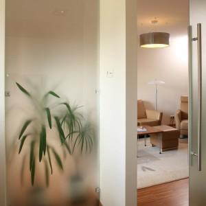 Wnętrze kuchni wydaje się jaśniejsze dzięki taflom półprzejrzystego szkła, z których  są wykonane drzwi oraz fragment ściany. Fot. Bartosz Jarosz.