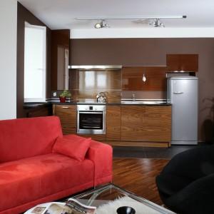 Dwie listwy, z umocowanymi na niej halogenami (Star Light), oświetlają salon i strefę kuchenną. Fot. Monika Filipiuk.