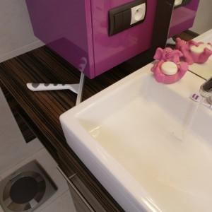 """Pod zabudową umywalkową (wykonaną na zamówienie) powstał dyskretny schowek na kocią """"toaletę"""". Fot. Bartosz Jarosz."""