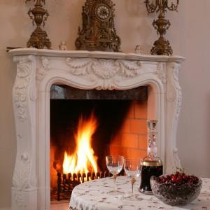 Kominek wykonany z marmuru jest niezwykłym elementem podkreślającym charakter salonu. Fot. Markowski Tomek.