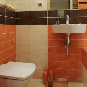 Niewielka powierzchnia łazienki, została optycznie powiększona niebanalnym układem płytek. Architekt zrezygnowała ze standardowych dekorów i przemieszała kolorystycznie płytki, tworząc z nich ciekawe kombinacje. Fot. Monika Filipiuk.