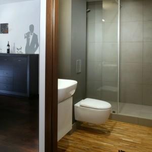 Szarości w łazience nawiązują do kolorystyki obecnej w całym mieszkaniu. Fot. Monika Filipiuk.