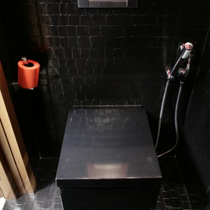 Tajemnicza czarna bryła – dzięki towarzyszącej jej podtynkowej baterii z bidettą (firmy Roca) – pełni funkcję sedesu i bidetu (z oferty Simas). Fot. Bartosz Jarosz.