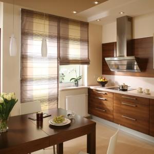Z kuchni można wejść prosto do niewielkiej oranżerii. Wiodące do niej drzwi i okno przesłaniają rzymskie rolety w różnych odcieniach brązu. Fot. Bartosz Jarosz.