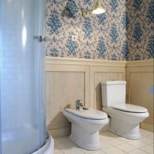 Wnętrze kabiny prysznicowej (firmy PoolSpa), podobnie jak podłogę i dekoracyjną ściankę, pokrywają włoskie płytki Ceramiche Grazia. Fot. Monika Filipiuk.