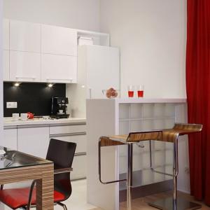 Stylistyka całego wnętrza opiera się na trzech kolorach: białym, czarnym, czerwonym. Jest to odzwierciedlenie minimalizmu japońskiego, który bazuje na tychże barwach. Fot. Monika Filipiuk.