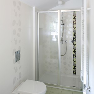 Kabina prysznicowa firmy Hüppe została zamontowana na brodziku z oferty marki Duravit. Terakotę w kolorze jasnej zieleni wybrano z katalogu Dado Ceramica. Fot. Bartosz Jarosz.