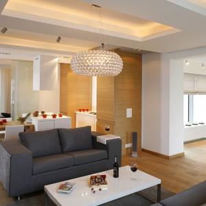 Strefy salonu i kuchni wydzielają symbolicznie podwieszane sufity z różnorodnym oświetleniem. W kuchni są to techniczne spoty Aquaform i New Tria (Spotline), w salonie – lampa wisząca Caboche (Foscarini). Fot. Bartosz Jarosz.