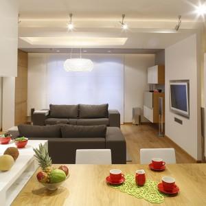 W salonie dwie sofy (Kalita Collection) tworzą strefę relaksu. Biały telewizor został zainstalowany we wnęce z karton-gipsu. Fot. Bartosz Jarosz.