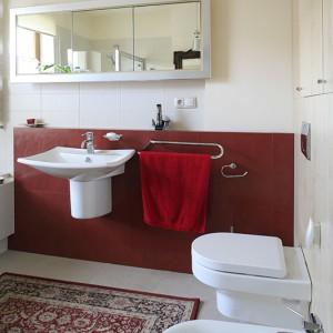 Fragment ściany, wykończony czerwonymi płytkami gresowymi, wyznacza strefę umywalki, tworząc także praktyczną półkę na przybory toaletowe. Fot. Bartosz Jarosz.