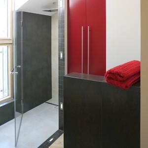 Kabina prysznicowa z dużą deszczownicą (Deante) wpisana jest pod skos i obrysowana z prawej strony ceramicznym pasem z diodami, który dzieli łazienkę, wyznaczając strefę kąpielową. Fot. Bartosz Jarosz.