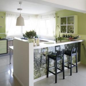 Meble kuchenne wykonano na zamówienie z mdf-u malowanego na kolor zielony i płyty laminowanej. Fototapetę na barze oraz ściany zabezpiecza szkło. Fot. Bartosz Jarosz.