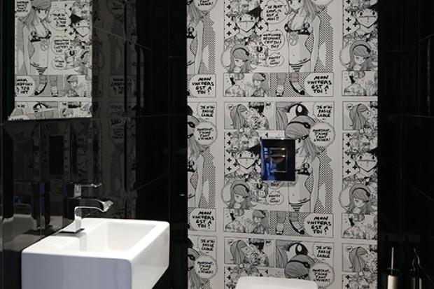 Komiksowe inspiracje w łazience dla gości