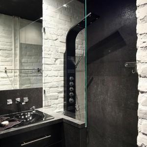 """Wnękę z panelem prysznicowym od reszty pomieszczenia oddziela transparentna tafla szkła, co eksponuje urodę i oryginalny charakter okładzin ściennych: gresu """"Bahia Antracita"""" Porcelanosa oraz  cegieł pomalowanych farbą ceramiczną, a we wnęce – dodatkowo szkłem w płynie. Fot. Bartosz Jarosz."""