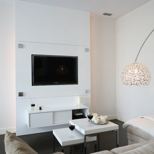 Ściana TV z szafką wykonana została na indywidualne zamówienie, podobnie jak wszystkie inne meble w mieszkaniu. Projekt przygotowała architekt Agnieszka Żyła. Fot. Bartosz Jarosz.