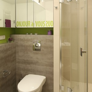 """Kabina prysznicowa została zaaranżowana w narożnej wnęce. Uchylne drzwi (""""Niven"""" marki Koło) wyposażone są w chromowane zawiasy z funkcją unoszenia, dzięki czemu łatwiejsze jest ich otwieranie i zamykanie. Fot. Bartosz Jarosz."""