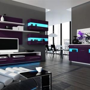 KATEGORIA PRZESTRZEŃ SALONU: Kolekcja mebli Angelline/Szynaka Meble. Dbałość o detale, intrygująca kolorystyka fioletu w wysokim połysku i subtelnej bieli podkreślona niebieską barwą oświetlenia wyróżnia mebel na tle innych produktów. Niecodzienna kolorystyka pozwala na uzyskanie wnętrza o nowoczesnym wyglądzie.  Producent: Szynaka-Meble Sp. z o.o.,  www.szynaka.pl