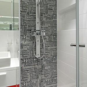 Kabina prysznicowa nie ma tradycyjnego brodzika. Zastąpił go odpływ liniowy zamontowany w podłodze. Fot. Bartosz Jarosz.