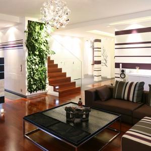 Dominująca w całym wnętrzu biel dodaje mu świeżości i lekkości, a motyw fioletowych pasów, występujący na ścianach w całej części dziennej i holu wejściowym, doskonale ją ożywia. Podobnie jak ściany zieleni, piękne o każdej porze roku. Fot. Bartosz Jarosz.