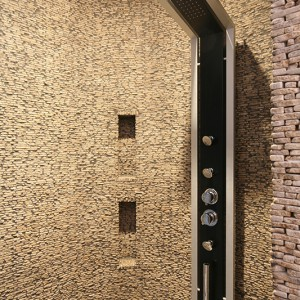 Z hydromasażu można skorzystać także pod prysznicem – panel oferuje natrysk górny, ręczny oraz dysze  boczne. Fot. Bartosz Jarosz.