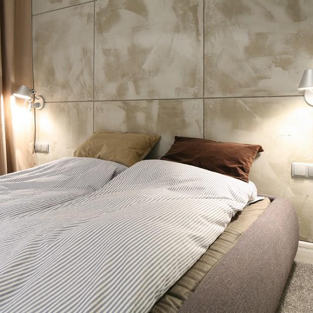 Betonowa ściana w sypialni