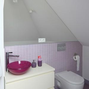 Strefa sanitarna została wyznaczona za pomocą mozaiki ściennej oraz lustra. Nawet dekoracyjne kryształki zdobiące kinkiet (z oferty sklepu Koma) przypominają, że to łazienka dla dziewczynki. Fot. Bartosz Jarosz.