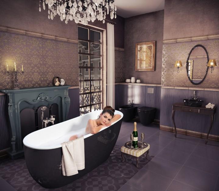 Łazienki z wanną, płytkami ceramicznymi, lustrem.