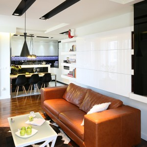 Przestrzeń nad kanapą zajęła cała masa pojemnych półek – otwartych i zamkniętych. Fot. Bartosz Jarosz.
