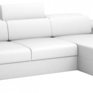 Narożnik Bacardi z regulowanymi zagłówkami i podłokietnikami oraz doskonale wyprofi lowanymi poduszkami oparciowymi. Z funkcją spania i dużym pojemnikiem na pościel. Wycena indywidualna, Caya Design.