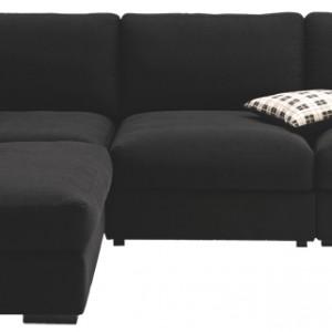 Sofa narożna Cenova z modułem wypoczynkowym. Na zdjęciu, czarna tkanina Nani. Różne kolory, tkaniny i skóry. Cena: ok. 19.760 zł, BoConcept.