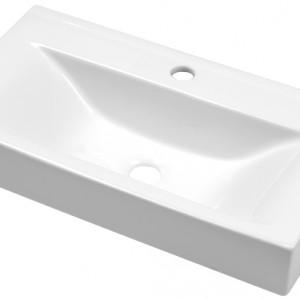 Umywalka stawiana na blat dostosowana do jednootworowych baterii umywalkowych. Materiał: ceramika sanitarna Wym. 61x33x13,5 cm. Cena: ok. 389 zł, Deante/Oktawia.