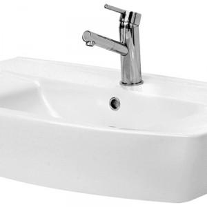 Umywalka z otworem na armaturę, montaż na szafce łazienkowej. Materiał: ceramika sanitarna Wym. 80x48 cm. Cena: ok. 404,69 zł, Cersanit/Olimpia 80.