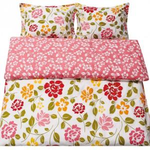 Komplet pościeli bawełnianej Tropical Floral. W składzie: poszwa  220x200, dwie poduszki 70x80). Cena: ok. 99,99 zł, Black Red White.